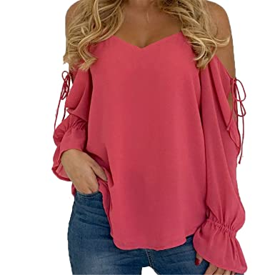 27d31e1aeb2f HANBINGPO Women Long Sleeve Summer Cold Off Shoulder Chiffon Feminine  Blouses Tops Watermelon Red S