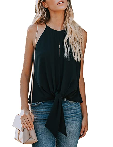 3b3173abd4495 Relipop Women s Blouse Round Neck Tie Front Knot Sleeveless Casual Loose  Tops T-Shirt Black