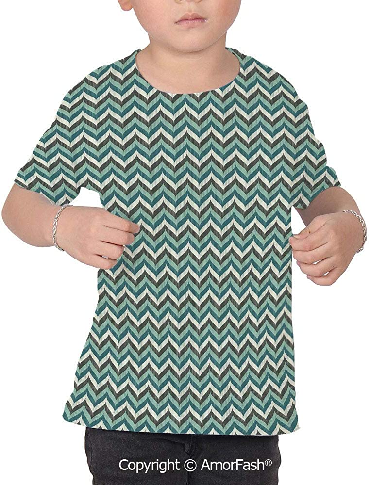 Turquoise Childrens Summer Casual T Shirt Dresses Short Sleeve,Wavy Lines with