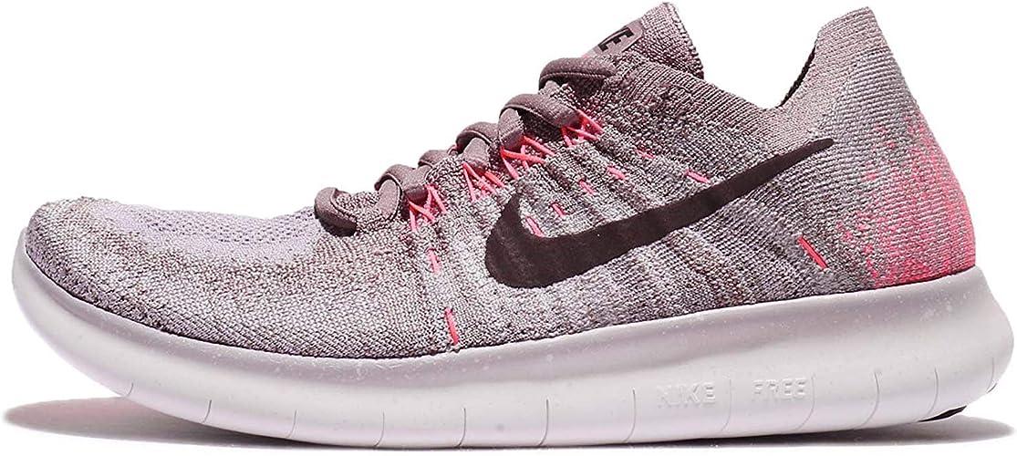Nike Mujeres Free RN Flyknit 2017 Bajos & Medios Cordon Zapatos para Correr, Taupe Grey/Port Wine-Solar Red, Talla 6: Amazon.es: Zapatos y complementos