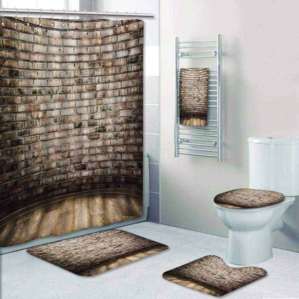Philip-home 5 Piece Banded Shower Curtain Set Interior Vintage with Brick and Wood Floor Pattern Adornment