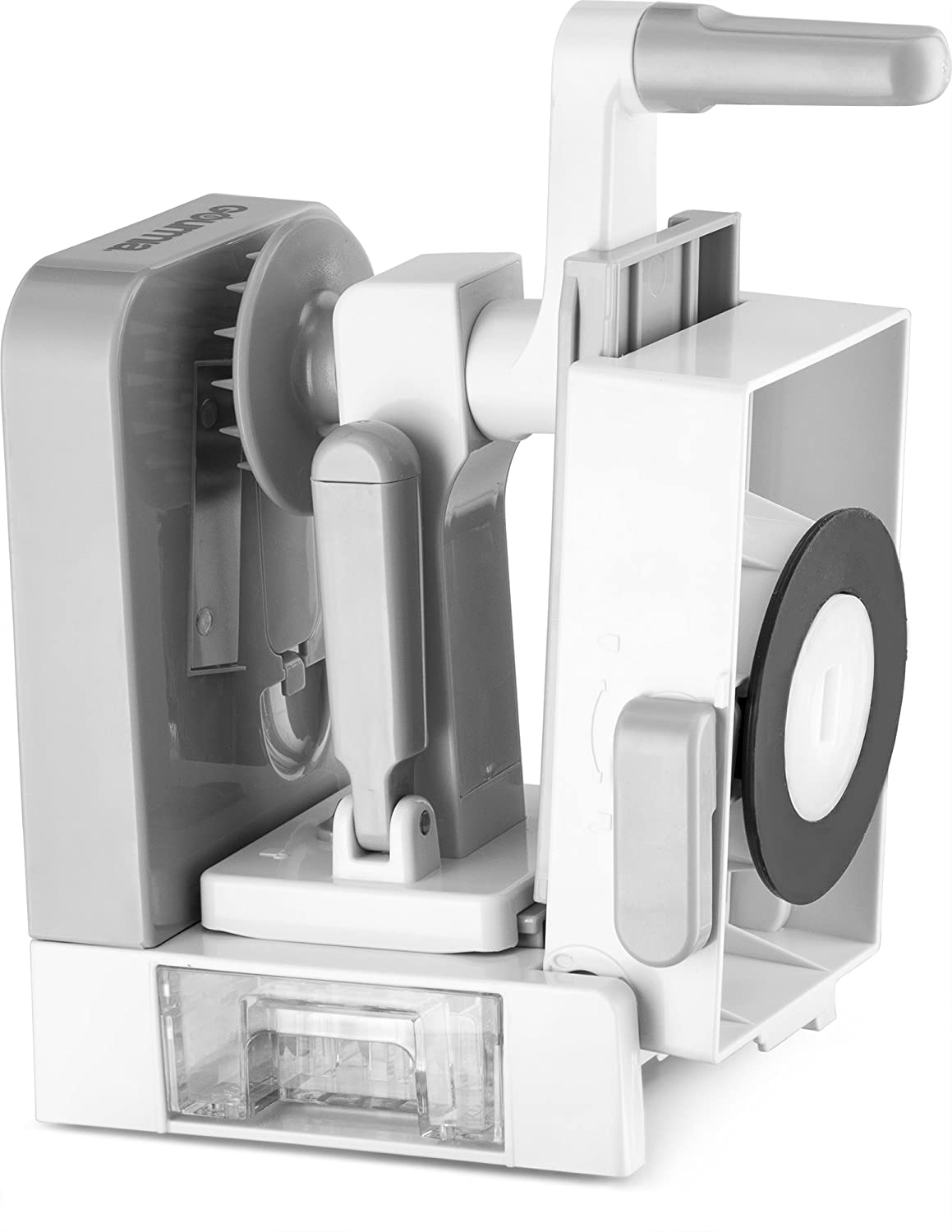 Storage Container No-Skid Suction Feet Gourmia GSS9615 Foldable 5 Blade Spiralizer Vegetable Slicer 5 Stainless Steel Blades for Thick and Thin Pasta Spirals BPA Free Gray