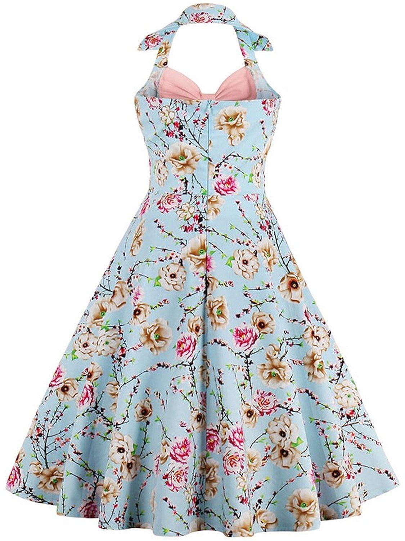 Babyonlinedress Vestido vintage y casual cuello de halter sin mangas falda plisada diseño de lazo por pechos vestido de coctel de fiesta: Amazon.es: Ropa y ...