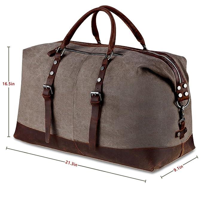 0ccc5a0a59 BLUBOON Borsone da Viaggio per Sport di tela e pelle Borsa Weekend Bag  Uomo/Donna Vintage (Caffè): Amazon.it: Valigeria