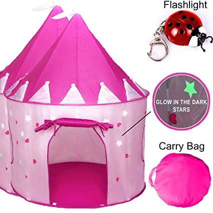 buy online 006fc 78126 TentTrix Kids Play Tent - Indoor / Outdoor Princess Castle Tent - GLOW IN  THE DARK Stars & Flashlight, Children & Girls Play Tent - Birthday or ...