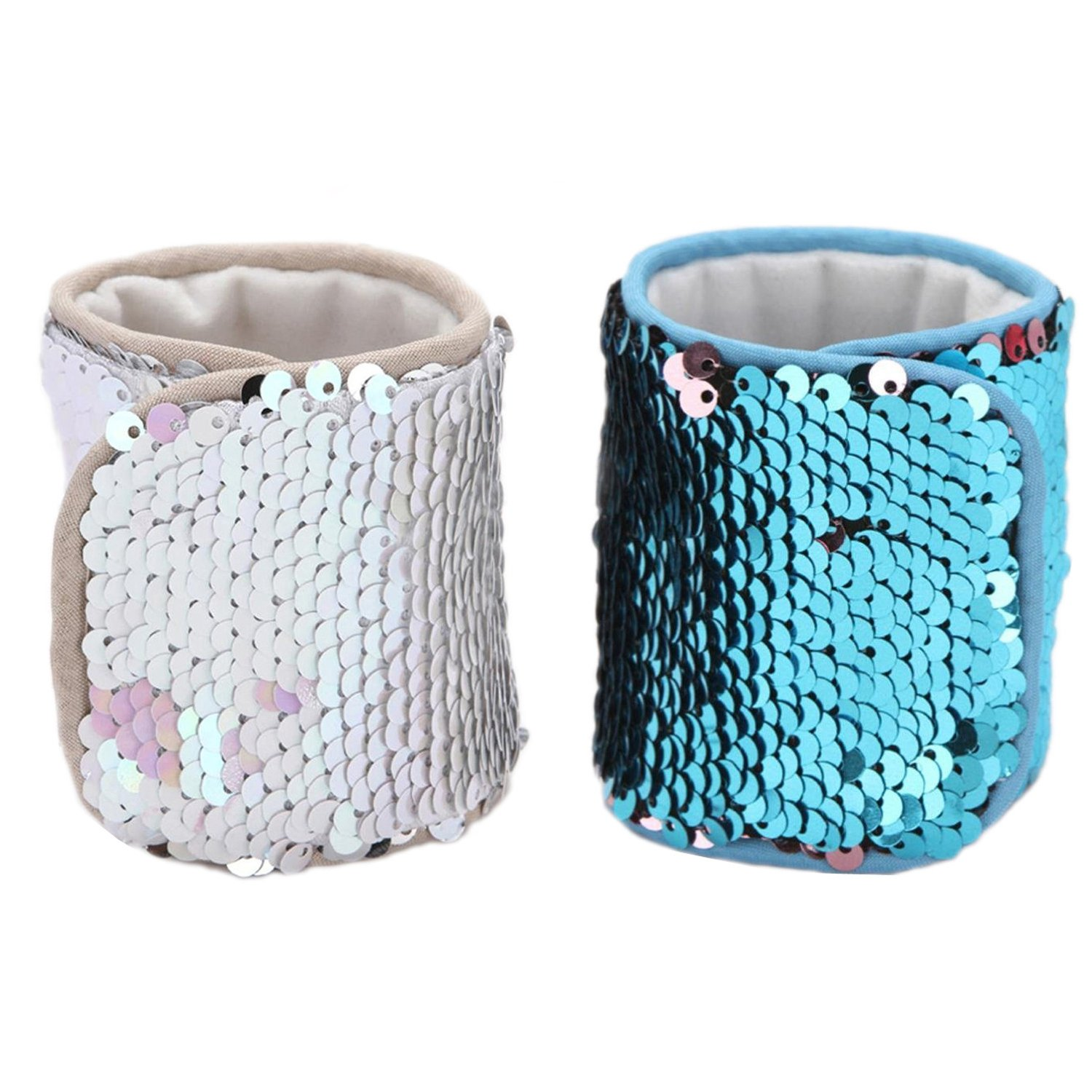 Mermaid Bracelet for Party Favors, Christmas Gifts, Two-color Reversible Charm Sequins Wristband Magic Calming Bracelets for Kids, Girls, Boys - Super-soft Velvet Lining (2Pack-A, velvet) RC-MB