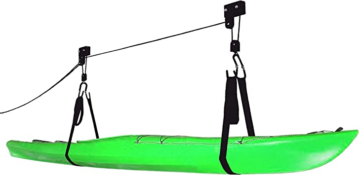 Onefeng Sports Kayak Lift Hoist Bike Ceiling Lift Hoist/ Overhead Rack/ Garage Storage Canoe Lift with 100 lb Capacity Even Works as Ladder Lift and Bike