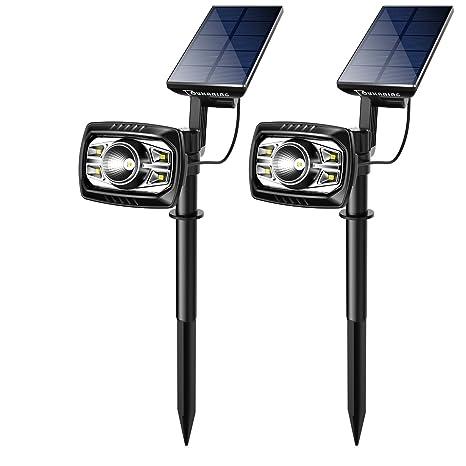 OUKANING Lámparas Solares Farola Jardín Solar Focos LED Exterior 4 LED Luces Impermeable IP65 Apliques de