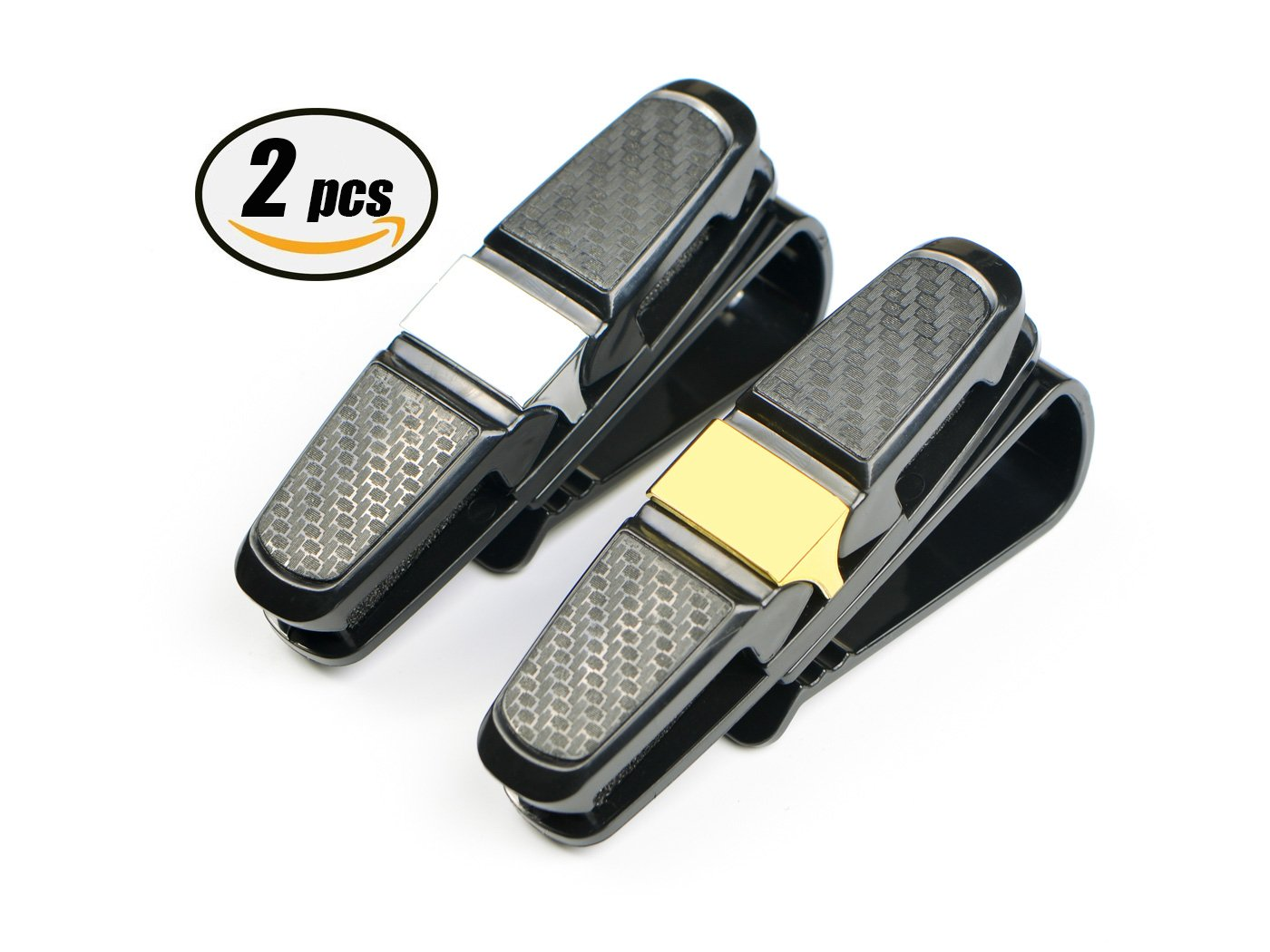sellebestgood 2 Pack Glasses Holder for Car Sun Visor(silver and golden) visor-uk
