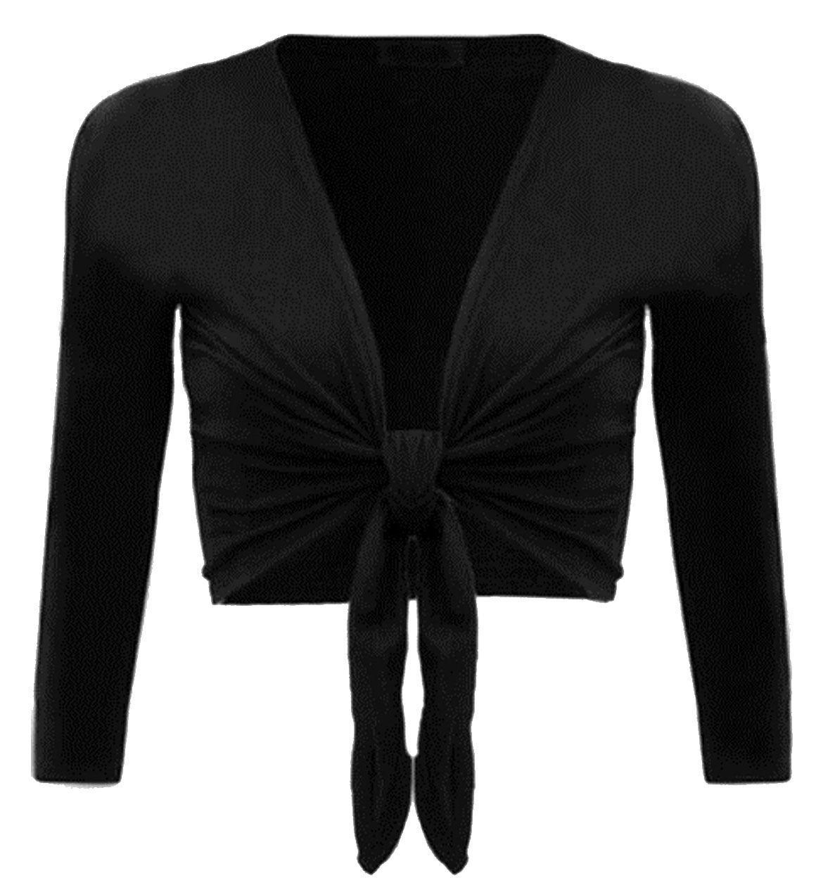 PurpleHanger Women's Long Sleeve Bolero Shrug Open Crop Cardigan Black 12