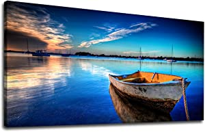 """yearainn Canvas Wall Art Boat Blue Lake Water Sunset Panoramic Painting - Long Nature Canvas Artwork Contemporary Picture for Home Office Wall Decor 20"""" x 40"""""""