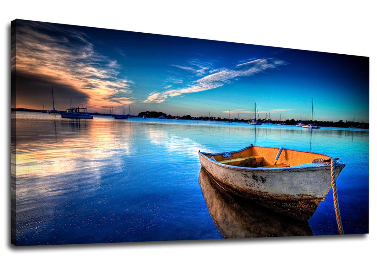 Long Canvas Artwork Sea Contemporary Nature Picture for Home Office Wall Decor 20 x 40 yart1h0506 yearainn Canvas Wall Art Summer Ocean Waves Coconut Trees on Sands Beach Panoramic Seascape Scenery Painting