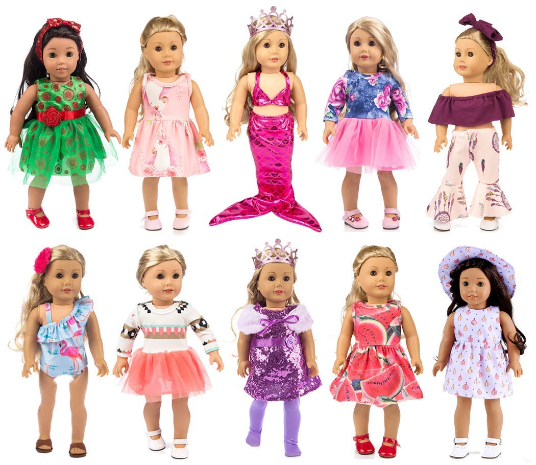 ebuddy 10-Sets Fashion Doll Clothes and Accessories with Popular Elements Horn Style,Unicon,Flamingo,Mermaid,Princess Dress for 18 inch American Girl Doll ,Our Generation Doll by ebuddy