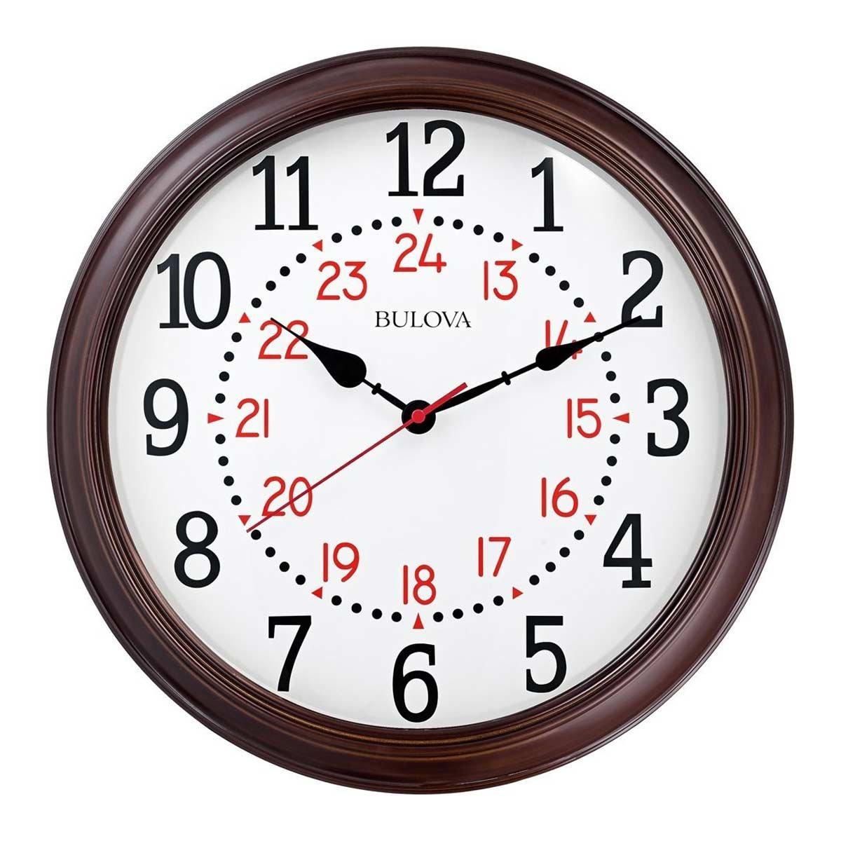 Bulova C4841 Station Master Wall Clock, Espresso Finish
