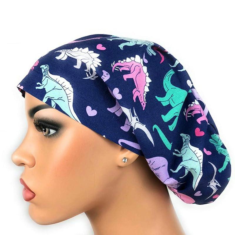DK Scrub Hats Scrub Hats: Sun Stars Scrub Hat for Women in Purple Euro Bouffant Scrub Cap Moon Surgical Scrub cap