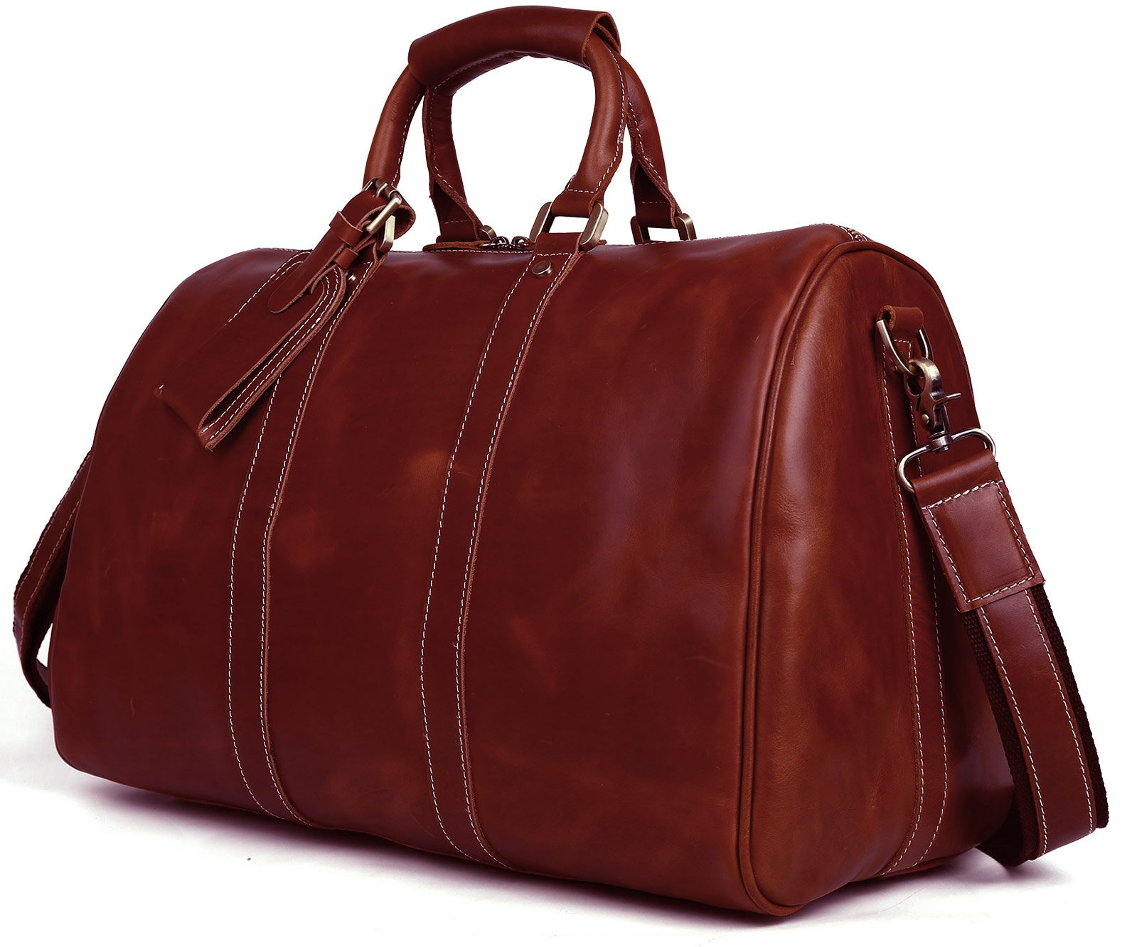 BAIGIO Men Leather Weekend/Overnight Travel Duffle Bag Carry On Cabin Duffel Luggage (Red Brown)