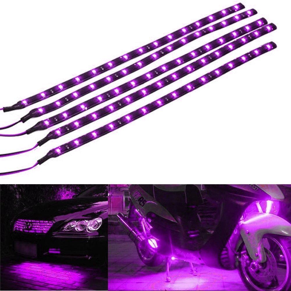 Mintice™ 5 X violet 12V 15 Led véhicule automobile calandre 30cm de voiture bande de lumière underbody souple imperméable