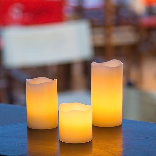 Pack 6 velas de cera a pilas Ø 5 cm, LED luz cálida, efecto llama ...