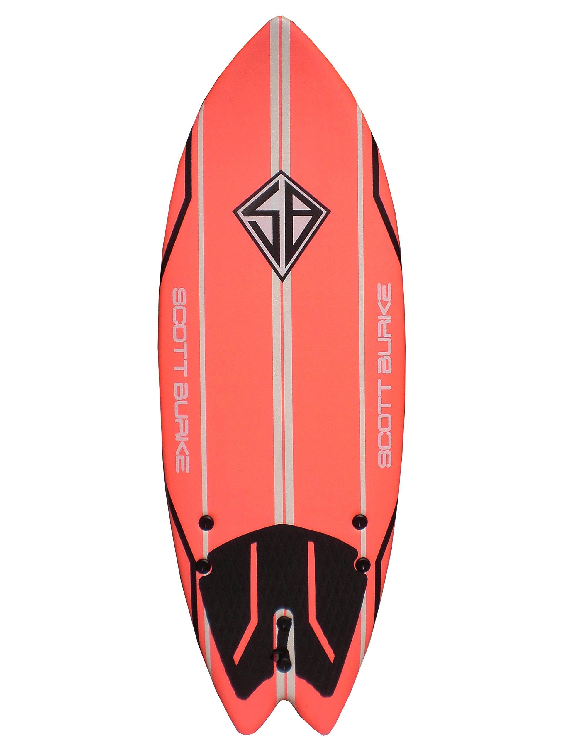 Scott Burke 5'2'' Fish Soft Surfboard, White/Red/Yellow