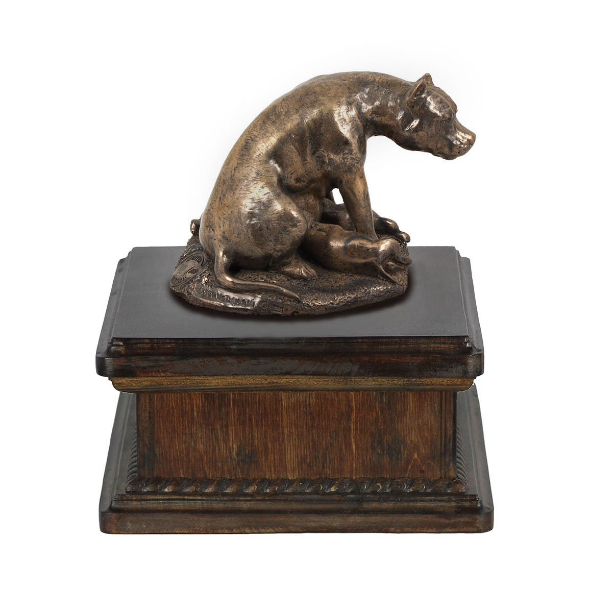 Staffordshire Bull Terrier (mama), memorial, urn for dog's ashes, with dog statue, exclusive, ArtDog