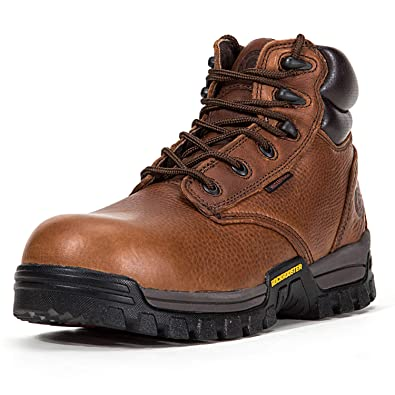 Poron XRD EH Safety Shoes Soft Moc Toe Arch Support ROCKROOSTER Work Boots for Men AP615 Coolmax Wedge Sole