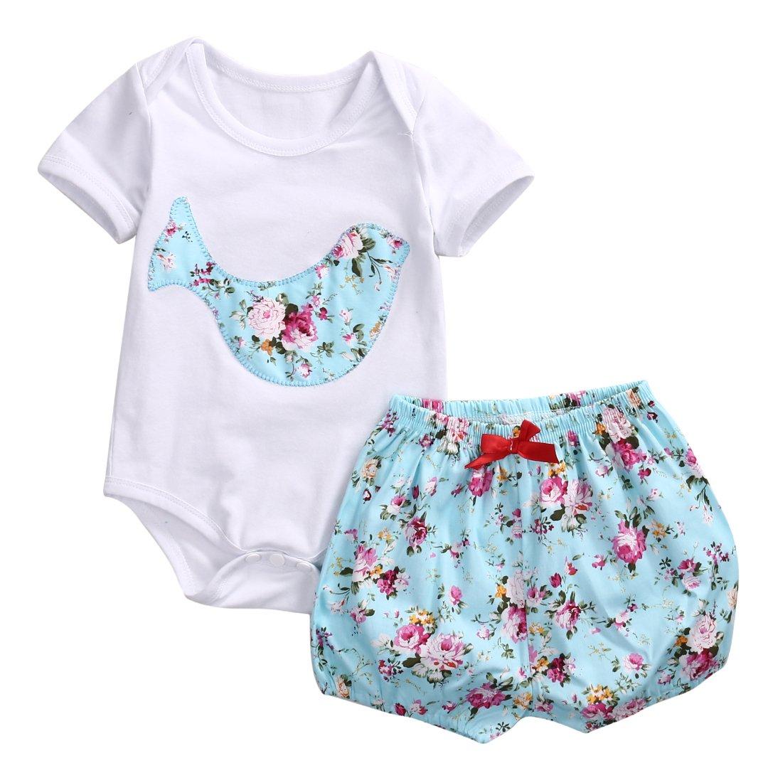 2 Styles Infant Boys Girls Deer Blooms Applique Romper+ Shorts 2pcs Outfits Set