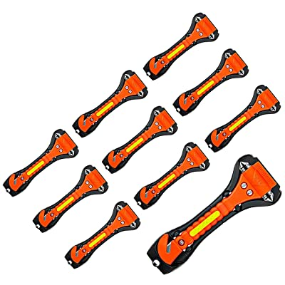 Nomiou 10 Pack Safety Hammer, Emergency Escape Tool with Car Window Breaker and Seat Belt Cutter, Life Saving Survival Kit: Automotive