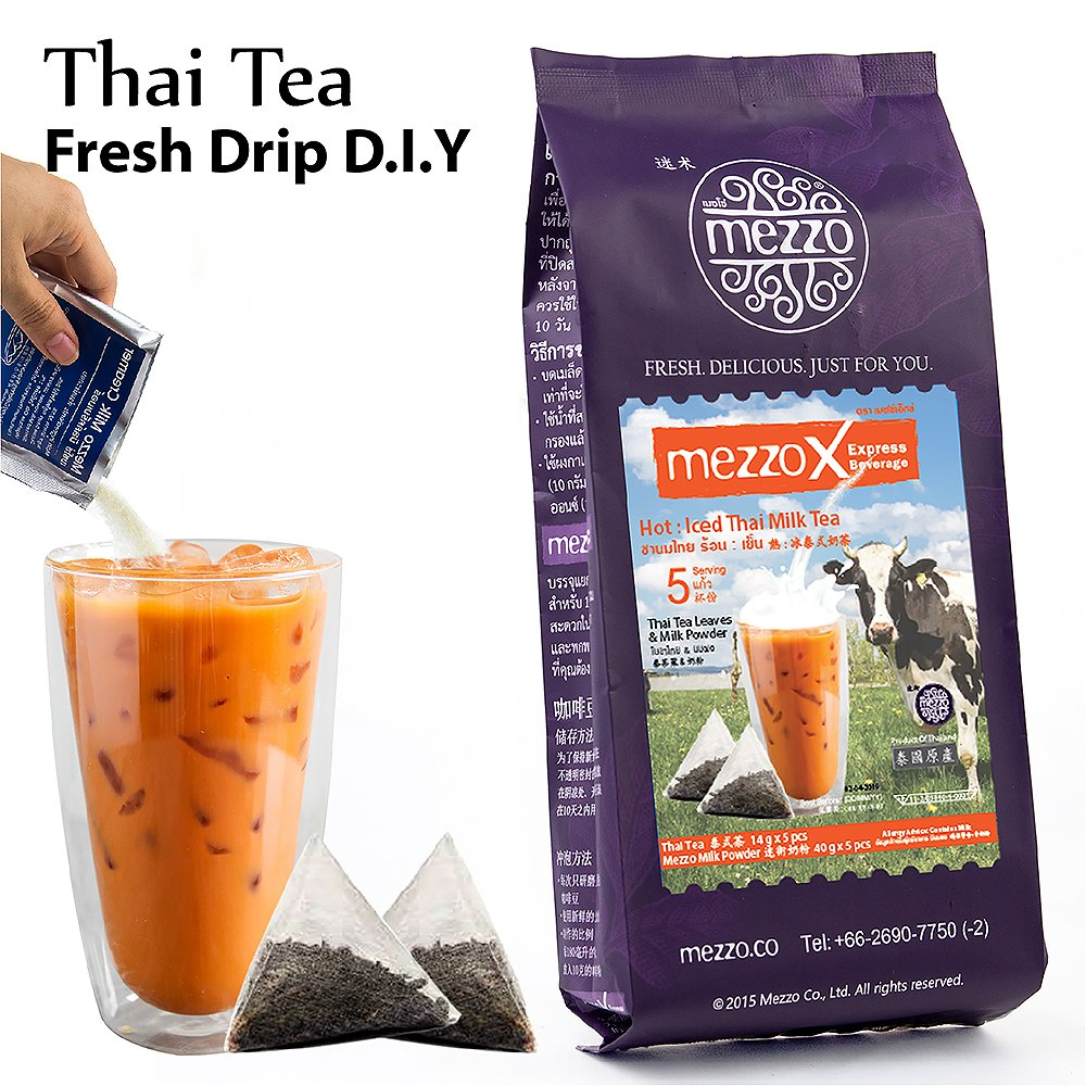 MezzoX Hot/Iced Thai Tea, Easy DIY Set 1.9 oz (54g) x 5 Servings, No Special Equipment or Ingredients Needed. Incl Ground Tea Leaves, Special Milk Powder, Thailand Import