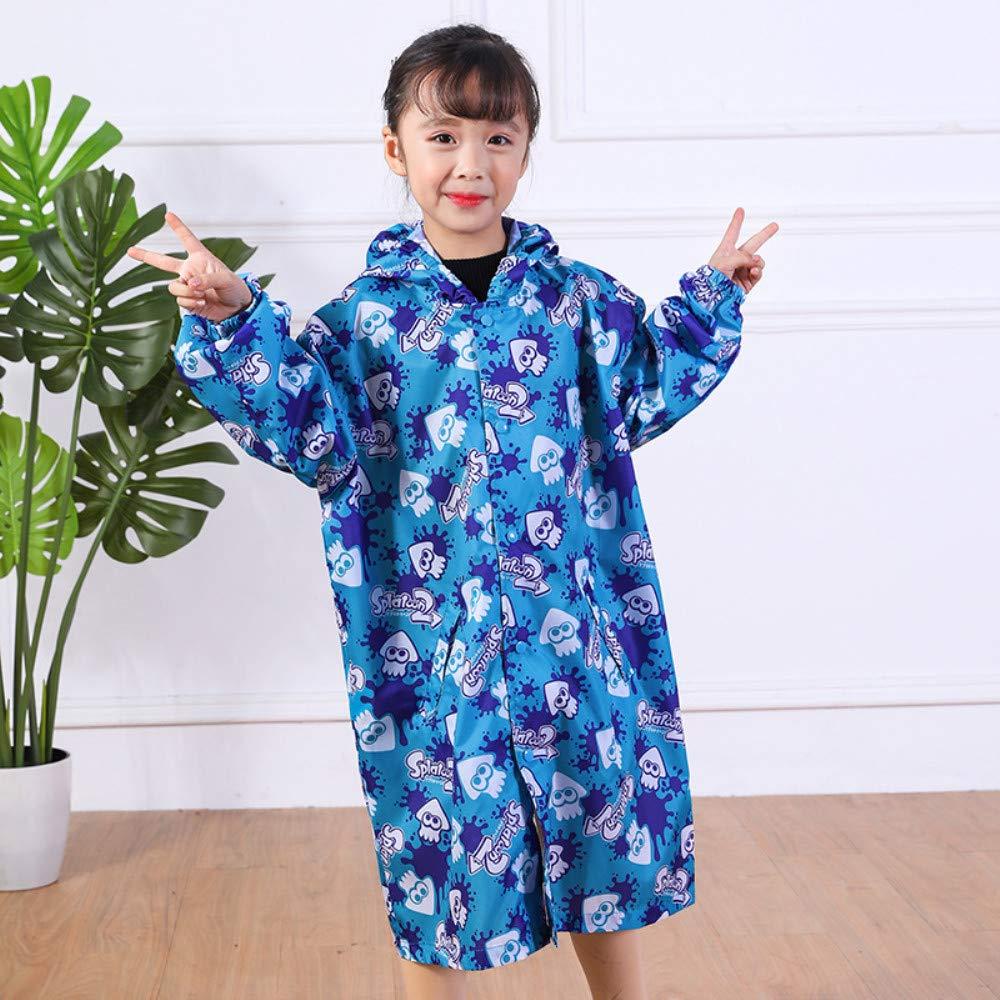 LENAZI Girl Full Length Waterproof Hooded Printed Raincoat Cotton Lined Rain Jackets Outdoor Light Windbreaker