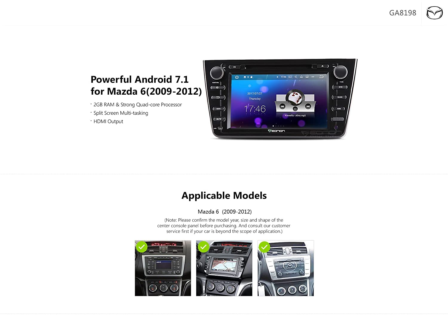 Eonon Autoradio 8 Zoll Android 71 Doppel Din Auto Stereo Dvd Gps Double Wire Diagram Navigation Fr Mazda 6 2009 2012 Cd Player Untersttzung Sat Nav Bluetooth Radio Dab