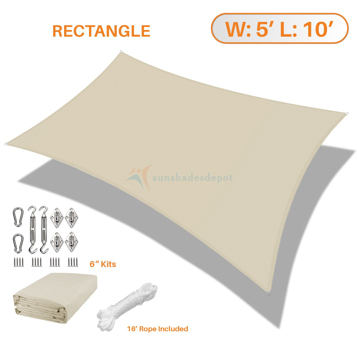 Sunshades Depot 5'x10' Rectanlge Waterproof Knitted Shade Sail with 6 inch Hardware Kit Curved Edge Beige 220 GSM UV Block Pergola Carport Canopy Awning Customize Available