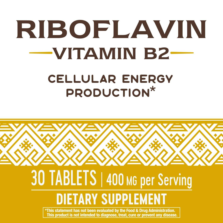 Riboflavina Vitamina B2, producción de energía, 400 mg, 30 ...