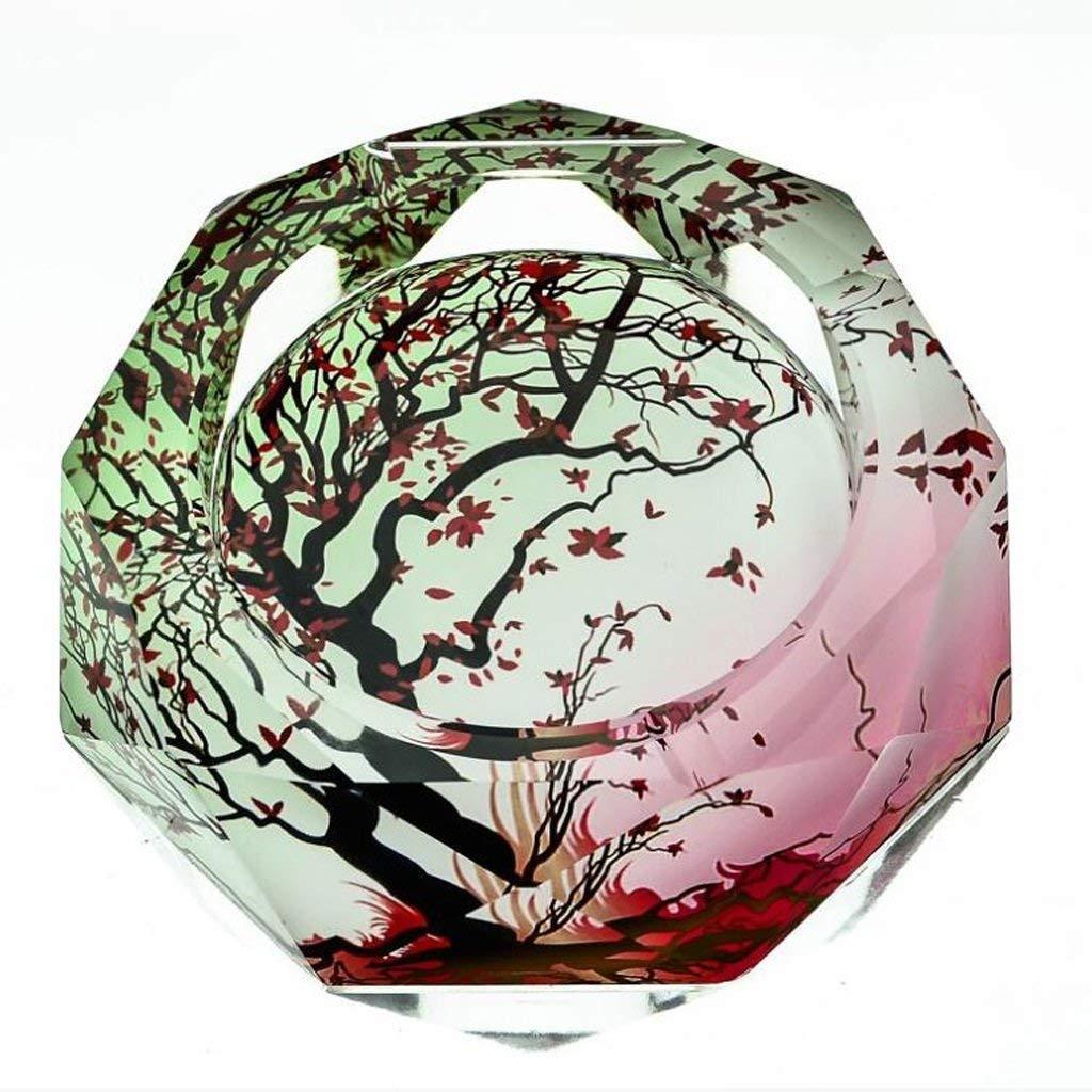 BMY 3Dダークグリーンメープルカラー印刷スタイルクリスタルガラス灰皿ファッションクリエイティブパーソナリティギフトスモーク付きリビングルーム(サイズ:20 * 20 * 4 cm) 20*20*4cm  B07RHVQR67