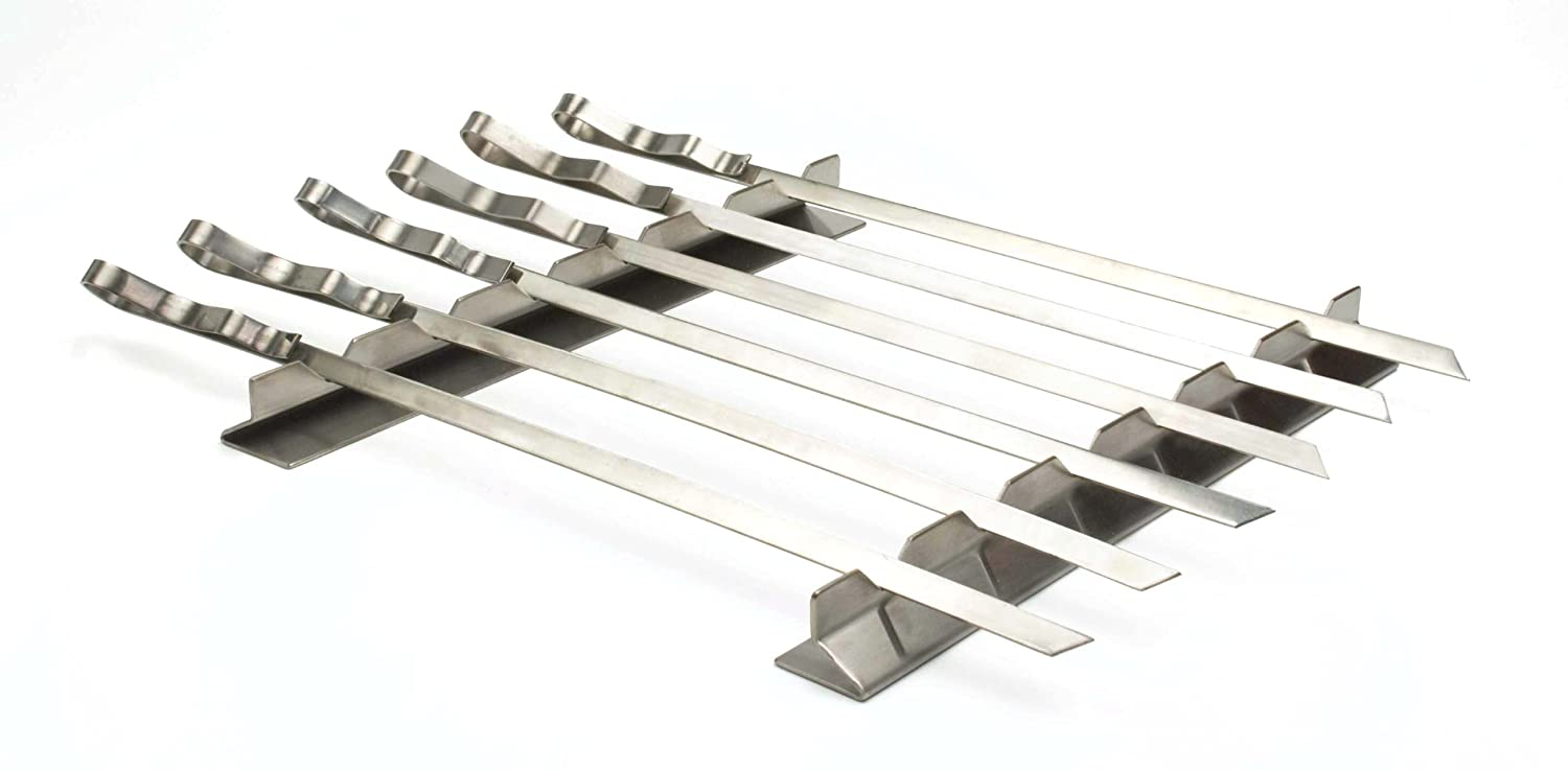 Steven Raichlen SR8816 Stainless Steel Kabob Rack with 6 Skewers Set Charcoal Companion