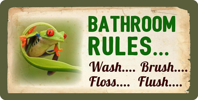 StickerPirate 244HS Frog Bathroom Rules Wash Brush Floss Flush Funny 5