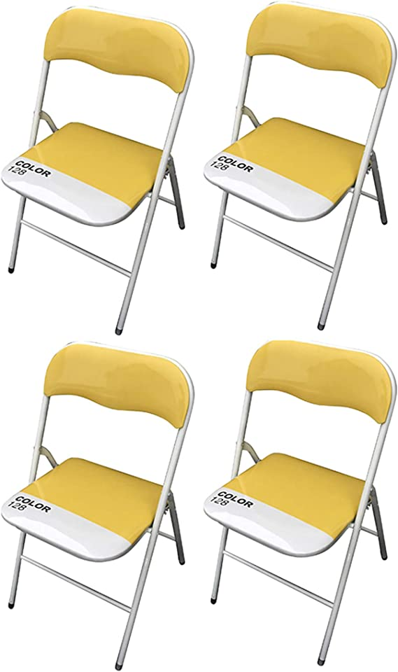 MILANI HOME Set di 4 SEDIE Pieghevoli Slim Gialle Color 128 di Design Leggere con Seduta Imbottita per Ufficio CASA Ospiti Cucina Camera
