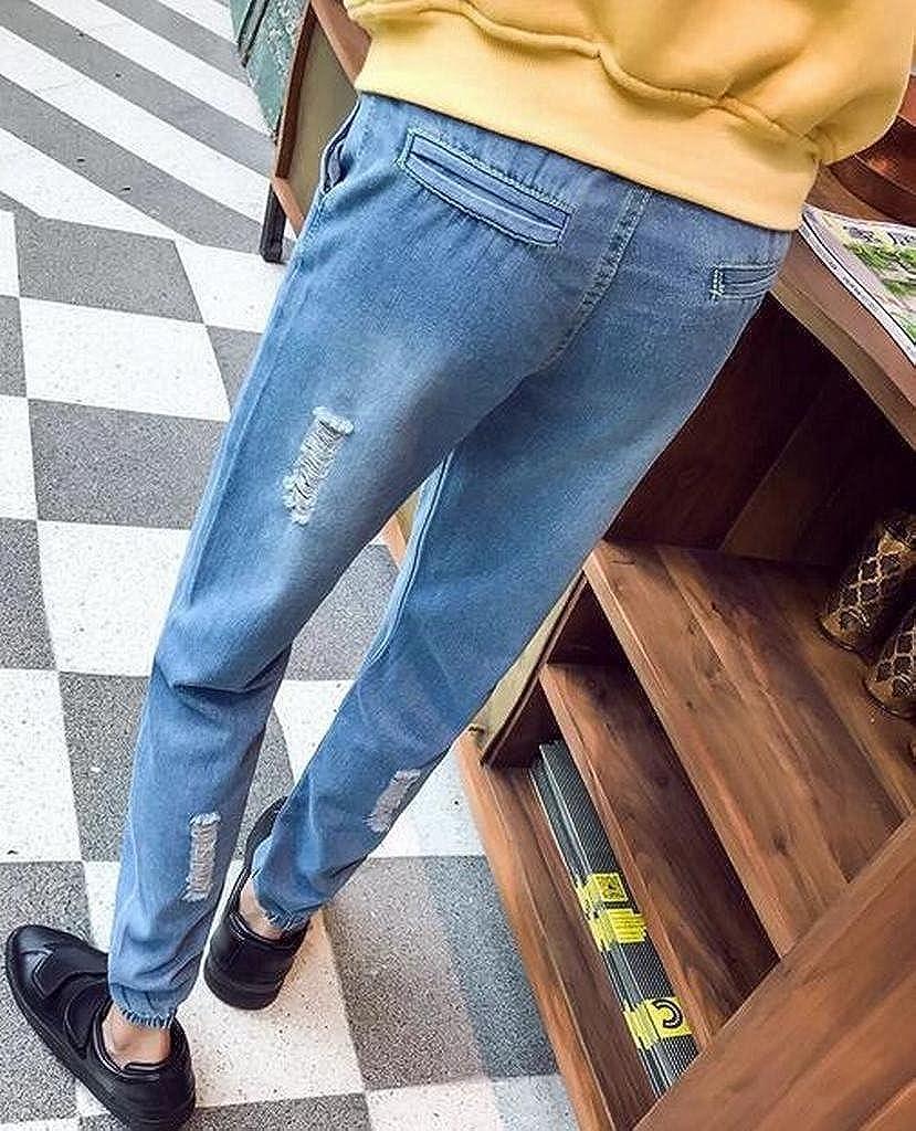 Fubotevic Mens Drawstring Ripped Plus Size Regular Fit Jogger Denim Jeans Pants