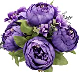 Duovlo Artificial Peony Silk Flowers Fake Flowers Vintage Wedding Home Decoration,Pack of 1 (Medium Purple)