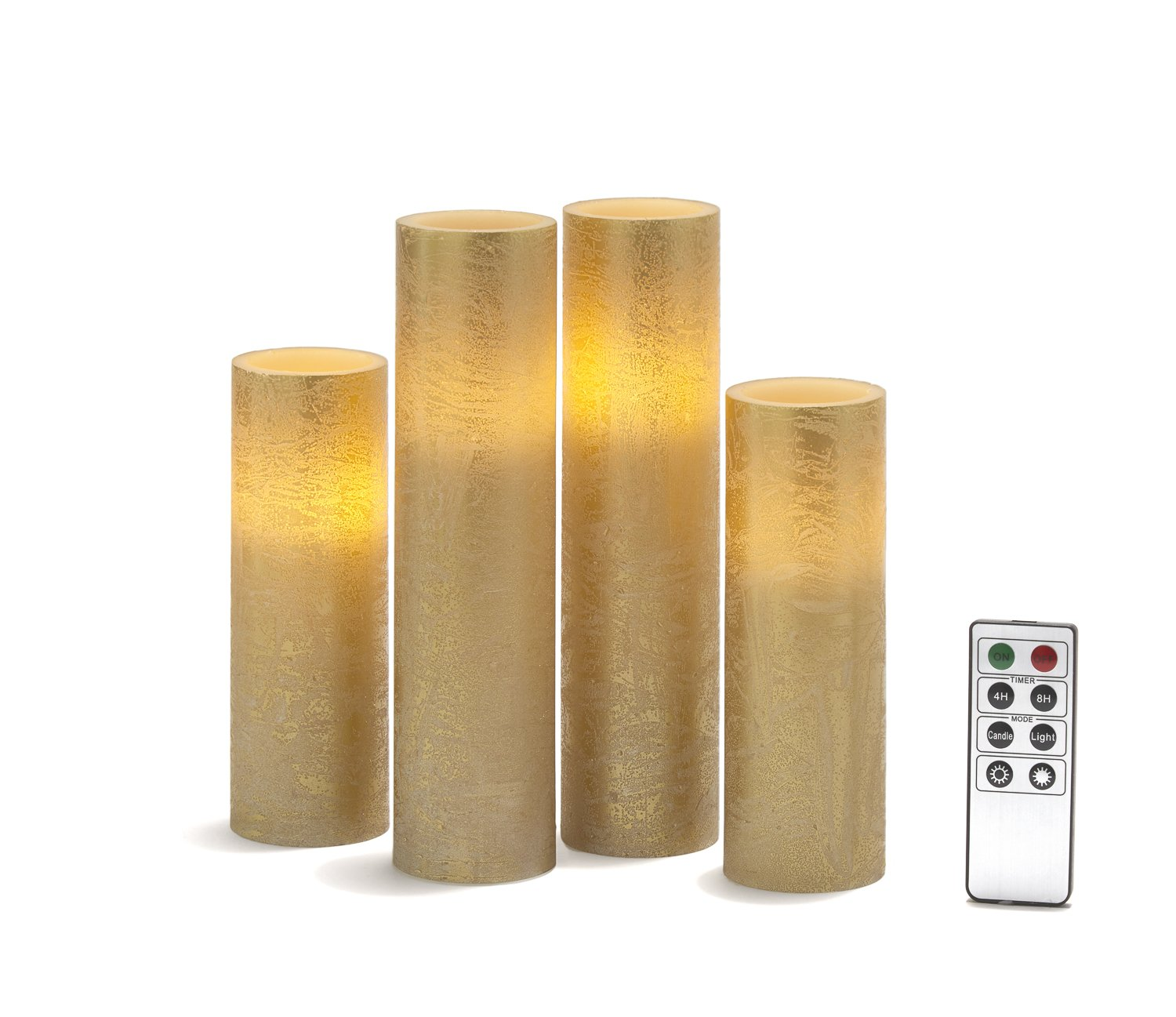 Gold Flameless Pillar Candles - Tall Set of 4, Distressed Textured Wax Finish, White LED Lights, 2'' Diameter, Batteries & Remote Included