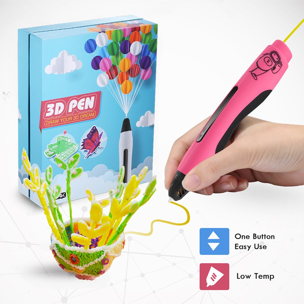 Ailink 3D Printing Pen Safe for Kids & Adults, Simple 1 Button Operation Easy Operated, Won' t Clog Guaranteed, 20 PCS Non-Toxic 1.75mm PCL Filament +1 Small Drawing Board + 1 Small Shovel + 2 Finger Cot Arts Crafts DIY Gift (Lucency)