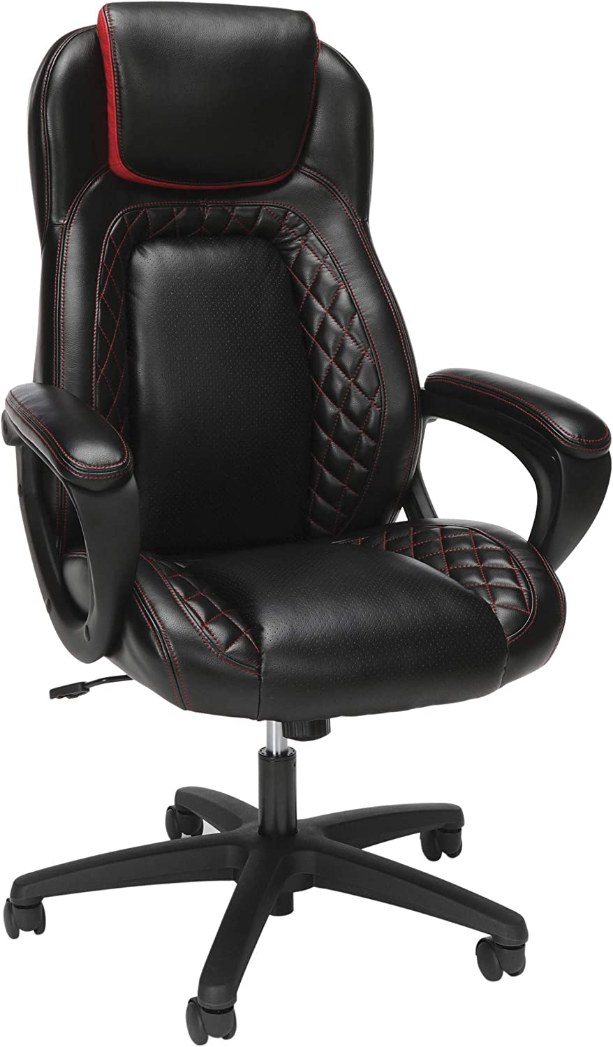 OFM Essentials Collection Racing Style SofThread Leather High Back Office Chair, in Red: Furniture & Decor