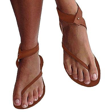 Lueyifs Damen Sandalen Flache Knöchel Schuhen Gladiator Flip Flop Thong Sommerschuhe (41, Braun)