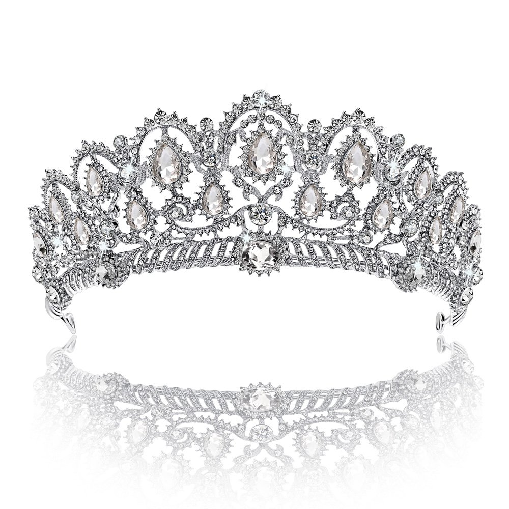 Crown, Tiara, YallFF Prom Queen Crown Quinceanera Pageant Crowns Princess Crown Rhinestone Crystal Bridal Crowns Tiaras for Women 05CK0023
