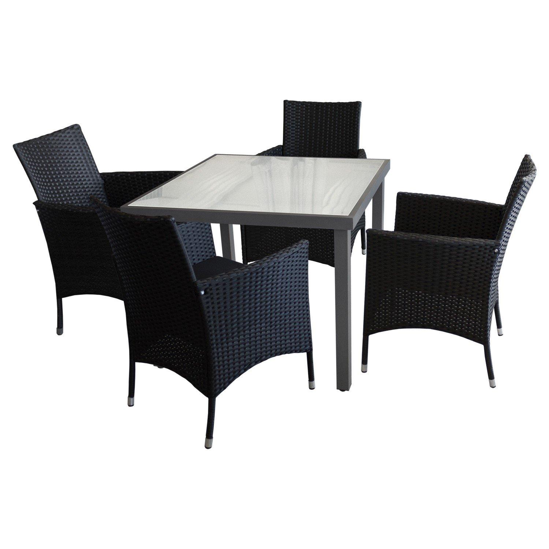 5tlg sitzgarnitur balkonm bel bistro set gartenm bel glastisch anthrazit satinierte. Black Bedroom Furniture Sets. Home Design Ideas