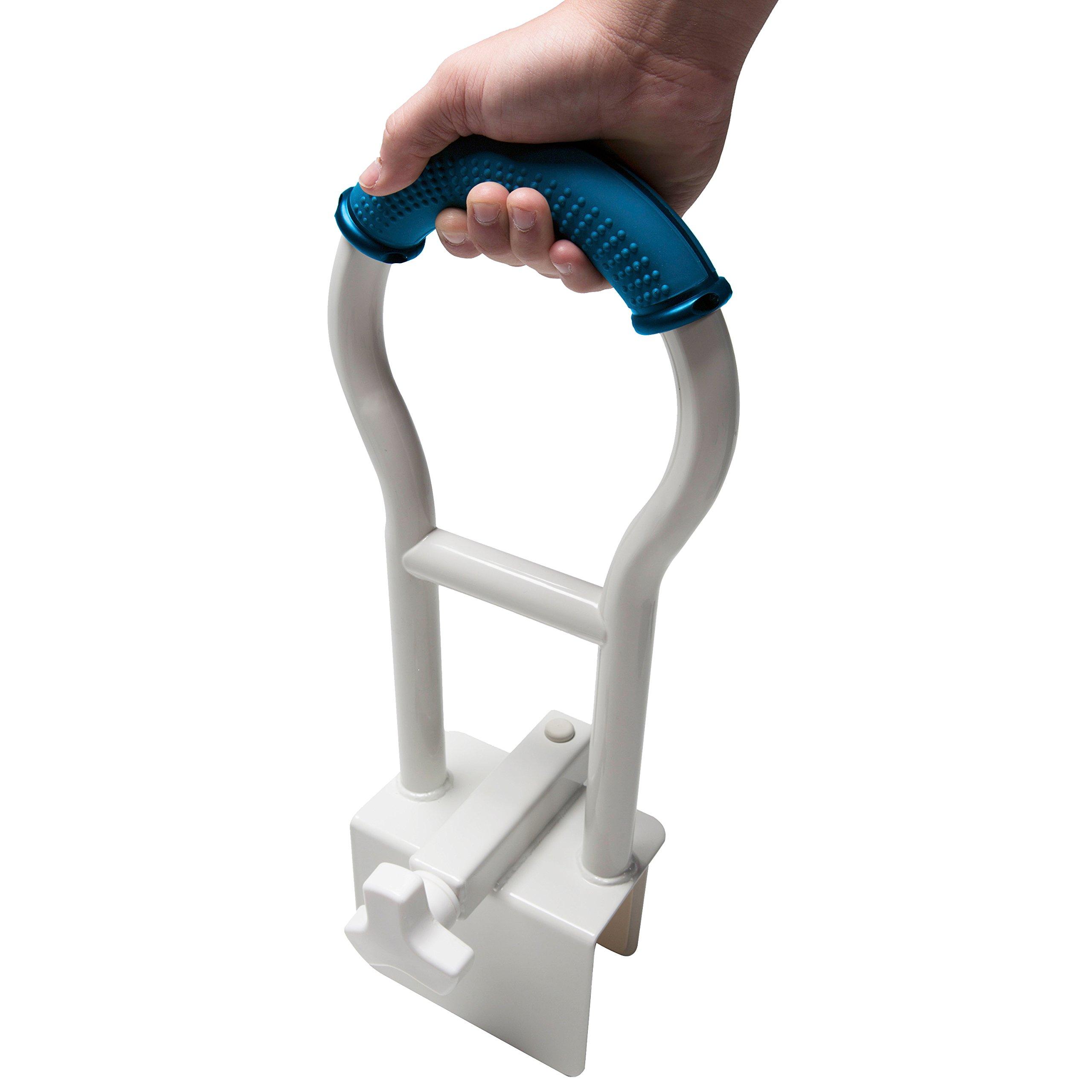 Pcp Bathtub Safety Rail with Sure-Grip, White/Blue, 19 inch