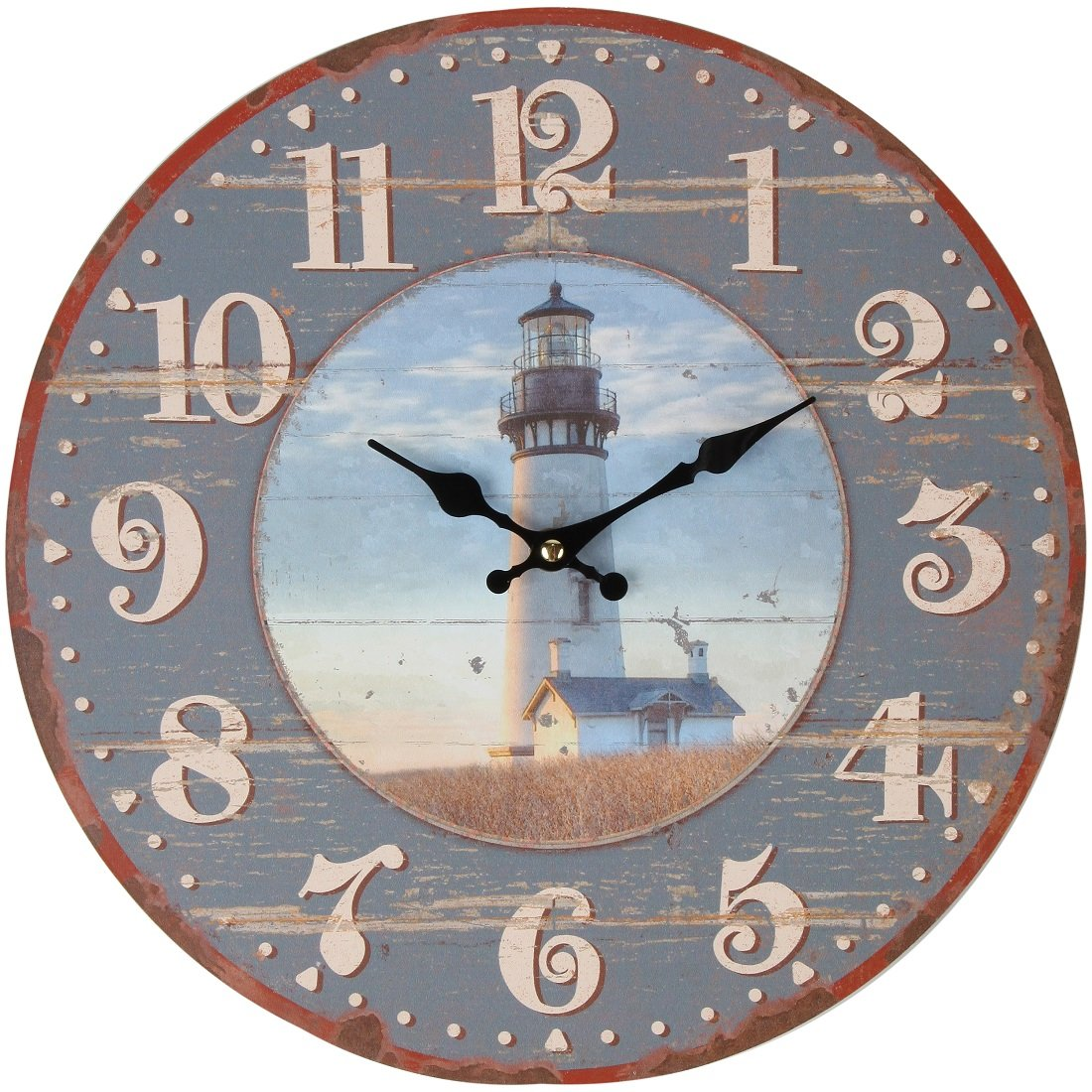 """Lily's Home Rustic Wood-Style Country Lighthouse Wall Clock, Fits Nautical or Country Décor, Battery-Powered with Quartz Movement, Ideal Gift for Lighthouse Fans (13"""" Diameter)"""