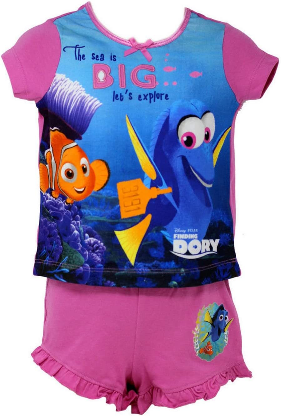 Officially Certified Disney Finding Dory Girls Kids Pink /& Blue Shirt /& Short Set 6-7 Years
