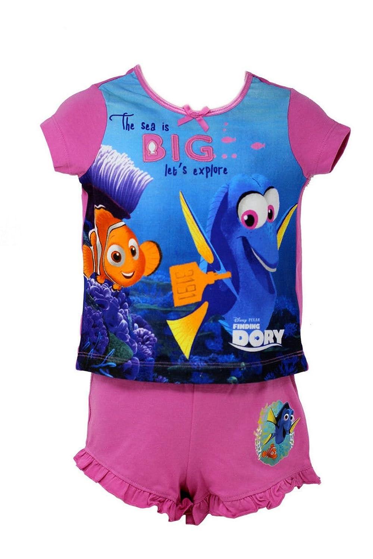 Officially Certified Disney Finding Dory Girls Kids Pink /& Blue Shirt /& Short Set Pyjama Set