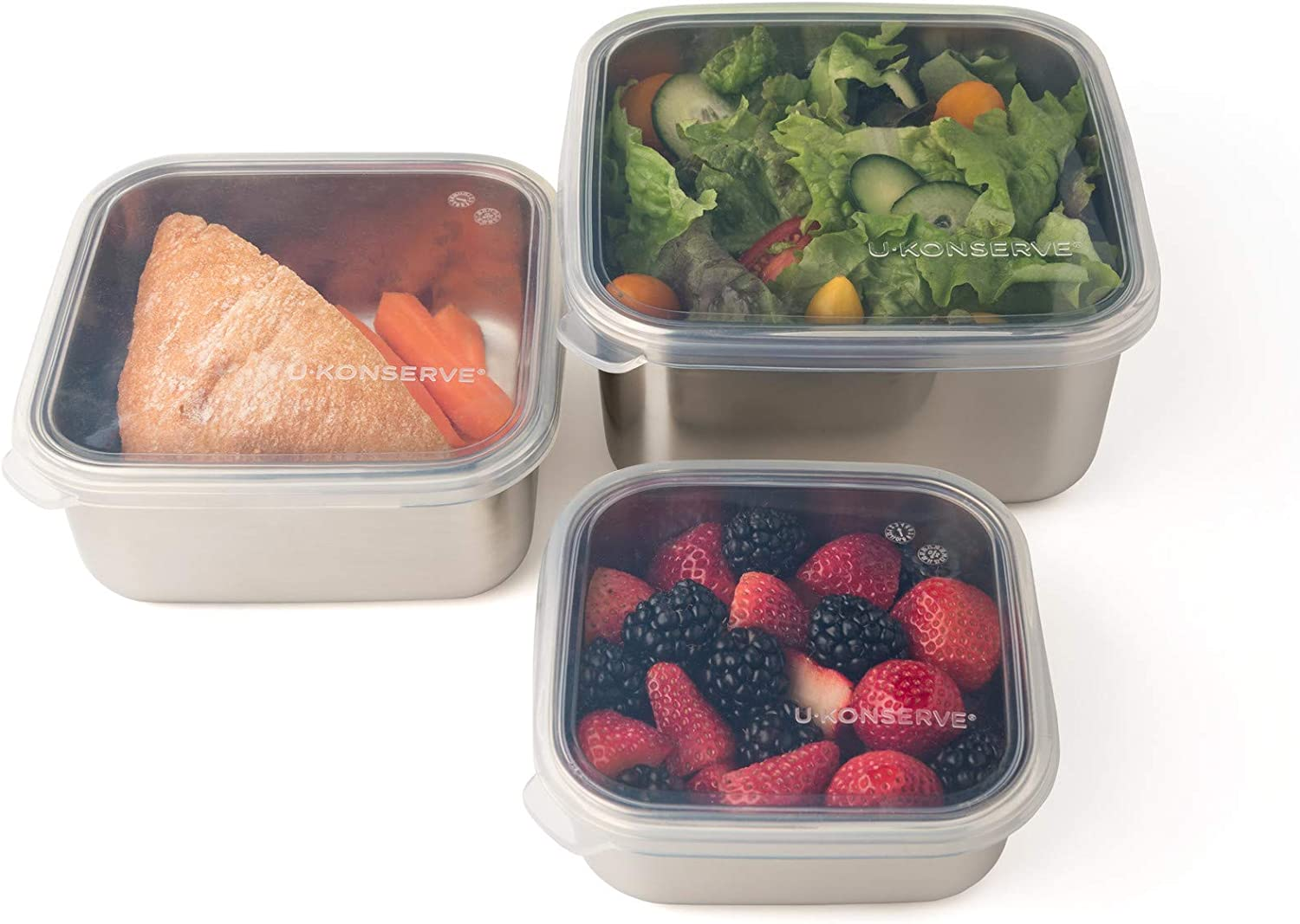 UKONSERVE To-Go Large Stainless Steel Container 50oz - Clear Silicone Lid