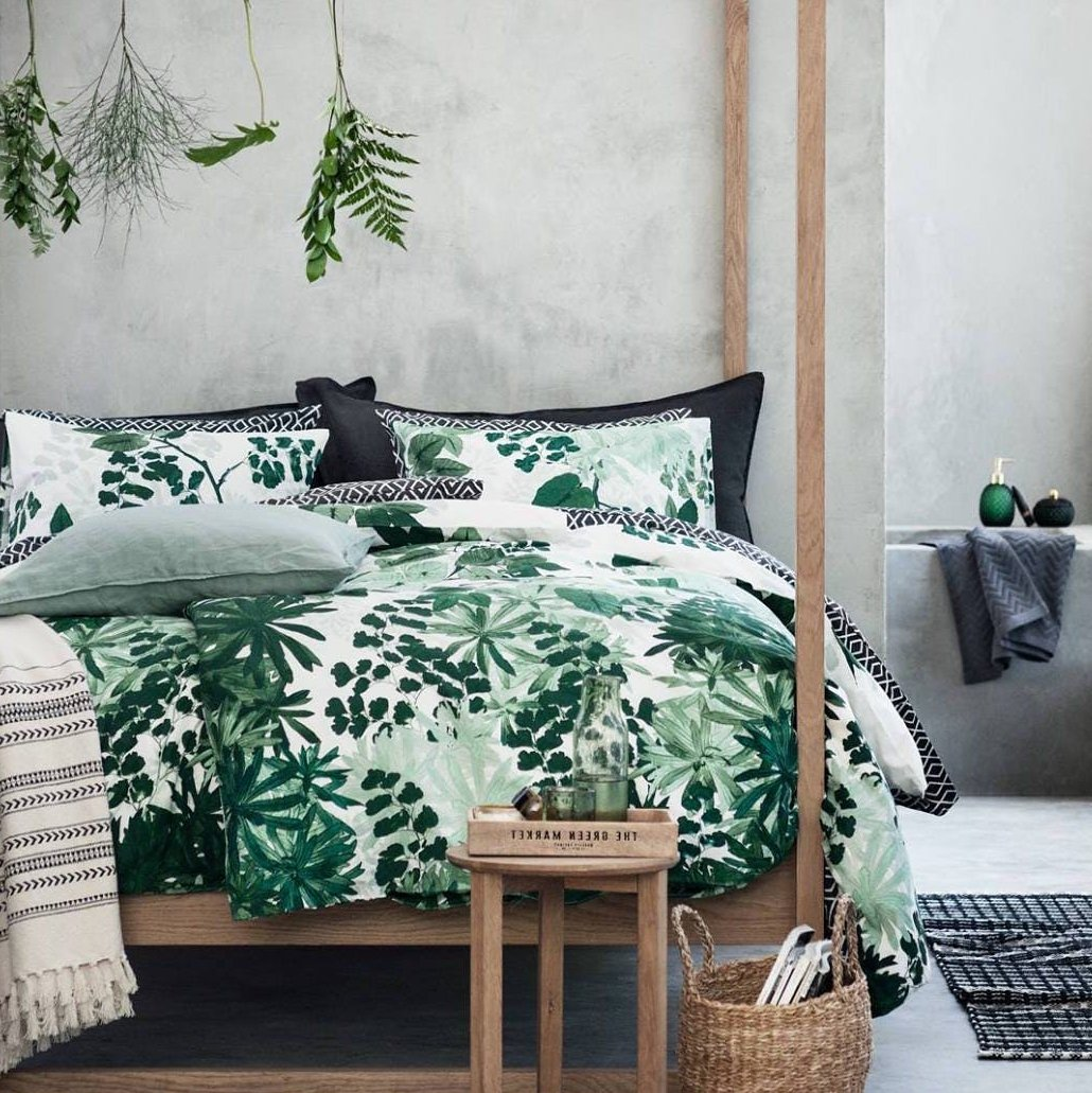 Botanical Tropical Plants Bedding Duvet Cover Set Modern Emerald Green Blue Jungle Leaves Branches Floral Print